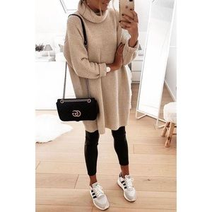 Taupe sweater dress mock turtle neck knit pockets